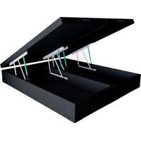 Base Para Cama Box Queen Premium Com Baú Corino (45X158X198) Preta