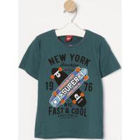 "Camiseta Skates ""New York""- Verde Escuro & Laranja- Gueda Kids"