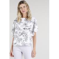 b57e5c4828 CEA  Blusa Feminina Ampla Com Estampa Floral Manga Curta Decote Redondo Off  White