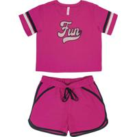 Conjunto Blusa E Shorts Rosa