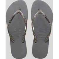 eb439bded7 CEA  Chinelo Feminino Havaianas Slim Com Glitter Cinza