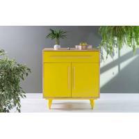 Armário De Cozinha Pequeno 2 Portas E Gaveta Sideral Natural E Amarelo 90X48X98 Cm