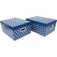 Jogo De Caixas Organizadoras Geomã©Tricas- Azul Escuro & Boxmania