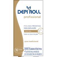 Depilador Depiroll Profissional Cera Fria Facial Folhas Plásticas Prontas Com 16 Unidades (8 Pares) + 1 Sachê De Lenço Umedecido Com Removedor Óleo Pó