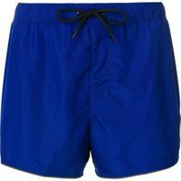 Versace Shorts De Banho Com Patch Do Logo - Azul