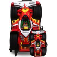 Kit 2Pçs Mochila De Rodinhas Max Toy F1 Power Vermelha/Preta