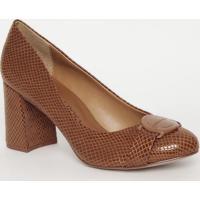 Sapato Com Aviamento- Marrom Claro- Salto: 7,5Cmmorena Rosa