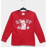 Camiseta Infantil Brandili Dog Player Manga Longa Masculina - Masculino-Vermelho