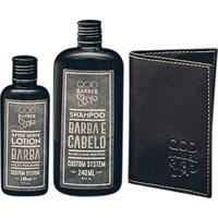 Kit Shampoo Qod Black + Loção Pós Barba + Carteira - Masculino-Preto