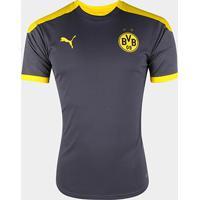 Camisa Borussia Dortmund Treino 20/21 Puma Masculina - Masculino-Grafite+Amarelo