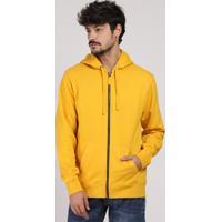 Blusão Masculino Básico Em Moletom Com Capuz E Bolso Amarelo