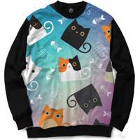 Blusa Bsc Cat Fish Full Print - Masculino-Preto