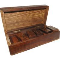Jogo De Dominó Madeira Com Box Oldway