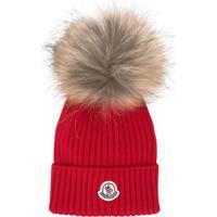 Moncler Kids Logo Knitted Hat - Vermelho