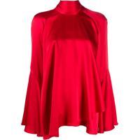 Alberta Ferretti Blusa Assimétrica Com Laço Na Gola - Vermelho