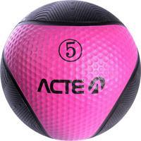Medicine Ball Com 5 Kilos - Preto & Rosa - Ø23Cmacte