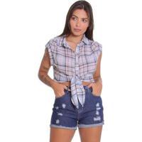 Camisa Le Julie Cropped Xadrez Feminina - Feminino-Azul