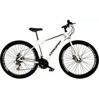 Bicicleta Dropp Aro 29 Freio A Disco Mecânico Quadro 19 Aço 21 Marchas Branco Preto