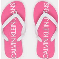 "Chinelo ""Calvin Klein Jeans®""- Rosa Escuro & Brancocalvin Klein"