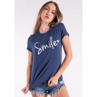 Blusa Nózinho Kaisan Com Silk Smile Azul Marinho