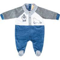 Macacão Longo Pupi Baby Menino Plush Delicate Azul Mescla
