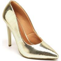 Scarpin Ellas Online Salto Metalizado Alto - Feminino-Dourado
