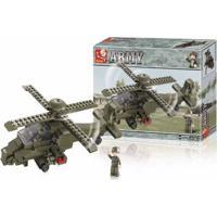 Blocos De Montar Land Force Modelo Helicóptero 199 Peças Indicado Para +6 Anos Verde Musgo Multikids - Br906 Br906