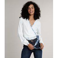 Blusa Jeans Feminina Transpassada Manga Longa Decote V Azul Claro