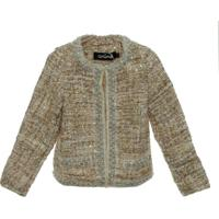 Casaco De Tweed Infantil - Feminino-Bege