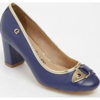 Sapato Tradicional Em Couro Com Tira & Aviamento- Azul Mcarmen Steffens