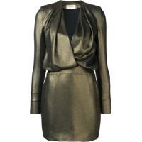 Saint Laurent Vestido De Seda - Dourado
