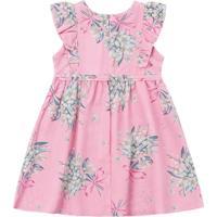 Vestido Bebê Floral Rosa Claro - Fakini