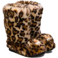 Dolce & Gabbana Kids Bota Slip On Com Estampa De Leopardo - Marrom