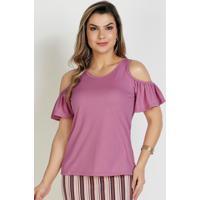 Blusa Rosa Com Ombro Vazado Moda Evangélica