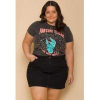 Saia Jeans Plus Size Sislla Naomi Cintura Alta Feminina - Feminino