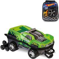 Mochila 3D Com Rodinhas E Lancheira Hot Wheels Dawgzilla 2500Dm19 Verde