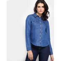 Camisa Jeans Aishty Botões Feminina - Feminino-Azul Royal
