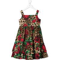 Dolce & Gabbana Kids Vestido Com Animal Print - Marrom