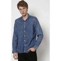 Camisa Jeans Estonada Com Botãµes- Azullevis