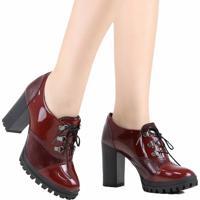 Sapato Oxford Dakota Salto Alto Vermelho