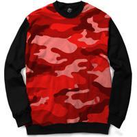 Blusa Bsc Camo Red Full Print - Masculino-Preto