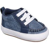 Tênis Infantil Bebê Menino Moderno Casual Botinha Pdk Kids Tênis Bebê Texturizado Cano Alto Jeans Marinho