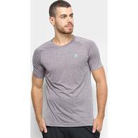 Camiseta Fila Basic Melange Masculina - Masculino-Cinza+Azul Claro