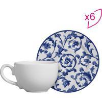 Conjunto De Xícaras De Chá Arabesco- Branco & Azul- Scalla Cerâmica