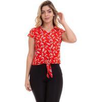 Blusa Cropped Crepe Estampada Feminina - Feminino-Vermelho