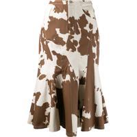Miaou Cow Print Godet Skirt - Neutro