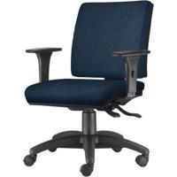 Cadeira Simple Com Braco Em Courino Assento Crepe Azul Base Nylon Arcada - 54923 - Sun House