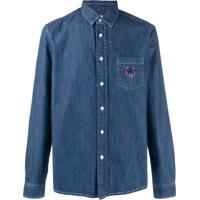 Kenzo Camisa Jeans Com Bordado - Azul