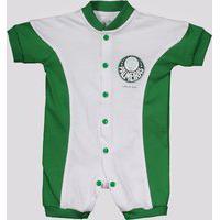 Macacão Palmeiras Curto Colorido Infantil Branco E Verde