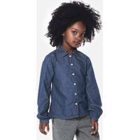 Camisa Jeans Infantil Menina Com Prints Em Strass Puc